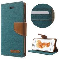 Canvas PU kožené/textilné puzdro pre iPhone 8 a iPhone 7 - zelenomodré