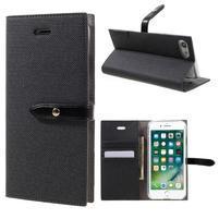 Fashions textilné peňaženkové puzdro pre iPhone 7 a iPhone 8 - čierne