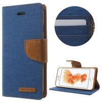 Canvas PU kožené/textilné puzdro pre iPhone 8 a iPhone 7 - modré