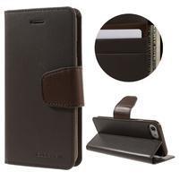 Sonata PU kožené puzdro pre mobil iPhone 8 a iPhone 7 - tmavehnedé