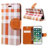 Fashion PU kožené puzdro pre iPhone 8 a iPhone 7 - oranžové