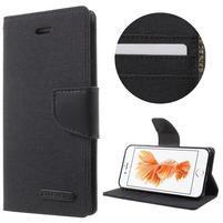 Canvas PU kožené/textilné puzdro pre iPhone 8 a iPhone 7 - čierne