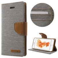 Canvas PU kožené/textilné puzdro pre iPhone 8 a iPhone 7 - sivé