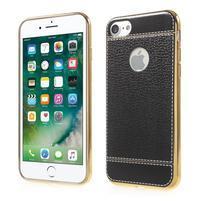 Luxusný Gélový obal s PU koženým chrbtom na iPhone 8 a iPhone 7 - čierne