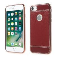 Luxusný Gélový obal s PU koženým chrbtom na iPhone 8 a iPhone 7 - červené
