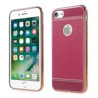 Luxusný Gélový obal s PU koženým chrbtom na iPhone 8 a iPhone 7 - rose