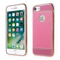 Luxusný Gélový obal s PU koženým chrbtom na iPhone 8 a iPhone 7 - ružové