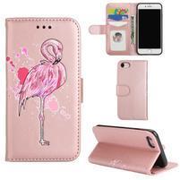 Plameniak PU kožené puzdro na iPhone 7 a iPhone 8 - ružovozlaté