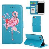 Plameniak PU kožené puzdro na iPhone 7 a iPhone 8 - modré