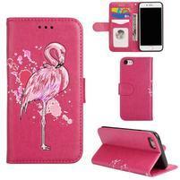 Plameniak PU kožené puzdro na iPhone 7 a iPhone 8 - rose