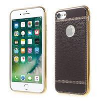 Luxusný Gélový obal s PU koženým chrbtom na iPhone 8 a iPhone 7 - tmavohnedá