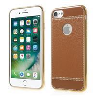 Luxusný Gélový obal s PU koženým chrbtom na iPhone 8 a iPhone 7 - hnedé