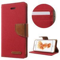 Canvas PU kožené/textilné puzdro pre iPhone 8 a iPhone 7 - červené