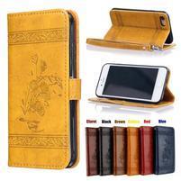 AntikFlower PU kožené puzdro pre mobil iPhone 8 a iPhone 7 - žlté