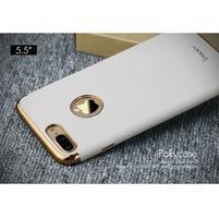 Luxy gélový obal se zlatým lemom na mobil iPhone 8 Plus a iPhone 7 Plus - biele