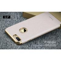 Luxy gélový obal se zlatým lemom na mobil iPhone 7 Plus - champagne
