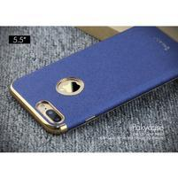 Luxy gélový obal se zlatým lemom na mobil iPhone 8 Plus a iPhone 7 Plus - modrý