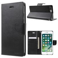 DiaryBravo PU kožené puzdro pre mobil iPhone 7 Plus a iPhone 8 Plus - čierne