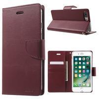 DiaryBravo PU kožené puzdro pre mobil iPhone 7 Plus a iPhone 8 Plus - vínové