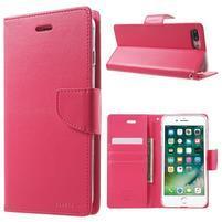 DiaryBravo PU kožené puzdro pre mobil iPhone 7 Plus a iPhone 8 Plus - rose
