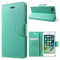 DiaryBravo PU kožené puzdro pre mobil iPhone 7 Plus a iPhone 8 Plus - azurové