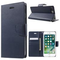 DiaryBravo PU kožené puzdro pre mobil iPhone 7 Plus a iPhone 8 Plus - tmavomodré