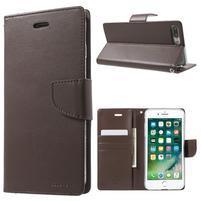 DiaryBravo PU kožené puzdro pre mobil iPhone 7 Plus a iPhone 8 Plus - tmavehnedé
