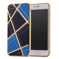 GeometricStyle plastový obal so zlatými lemami na iPhone 8 Plus a iPhone 7 Plus - modrý