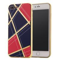 GeometricStyle plastový obal so zlatými lemami na iPhone 8 Plus a iPhone 7 Plus - tmavomodrý/červený