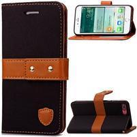 TexaCloth PU kožené/textilné puzdro pre iPhone 7 Plus a iPhone 8 Plus - čierne