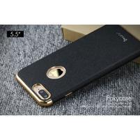Luxy gélový obal se zlatým lemom na mobil iPhone 8 Plus a iPhone 7 Plus - čierne