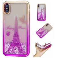 Candy presýpací gélový obal na iPhone X - Eiffelova veža