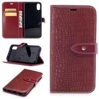 Croco PU kožené peňaženkové puzdro na iPhone X - červené