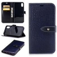 Croco PU kožené peňaženkové puzdro na iPhone X - tmavomodré