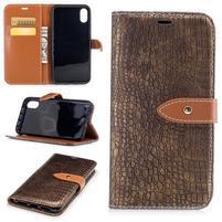 Croco PU kožené peňaženkové puzdro na iPhone X - coffee