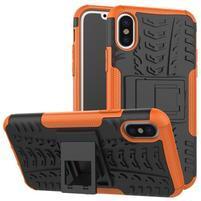 Outdoor odolný obal so stojanom na iPhone X - oranžový