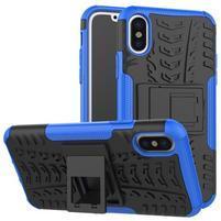 Outdoor odolný obal so stojanom na iPhone X - modrý