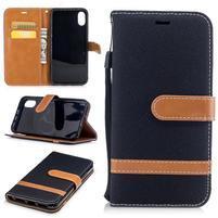 Peňaženkové textilné / PU kožené púzdro na iPhone X - čierne