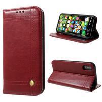 Retro style PU kožené puzdro na mobil iPhone X - červené