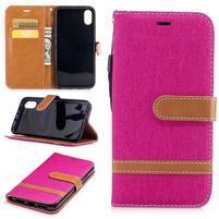 Peňaženkové textilné / PU kožené puzdro na iPhone X - rose