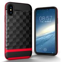 Hybridný odolný obal na mobil iPhone X - červený