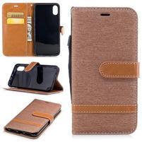 Peňaženkové textilné / PU kožené puzdro na iPhone X - khaki