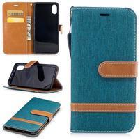 Peňaženkové textilné / PU kožené puzdro na iPhone X - modrozelené