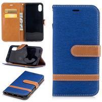 Peňaženkové textilné / PU kožené puzdro na iPhone X - modré