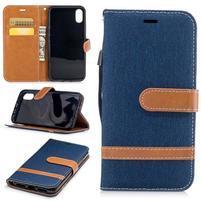 Peňaženkové textilné / PU kožené puzdro na iPhone X - tmavomodré