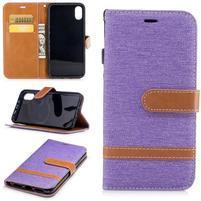 Peňaženkové textilné / PU kožené puzdro na iPhone X - fialové