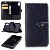 Croco PU kožené peňaženkové puzdro na iPhone X - čierne