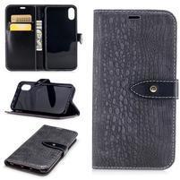 Croco PU kožené peňaženkové puzdro na iPhone X - sivé