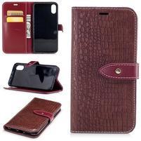Croco PU kožené peňaženkové puzdro na iPhone X - vínové