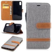 Peňaženkové textilné / PU kožené puzdro na iPhone X - sivé